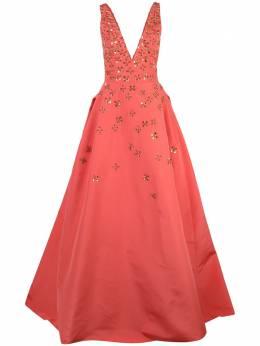 Carolina Herrera вечернее платье с цветочной вышивкой R2011E704SFA