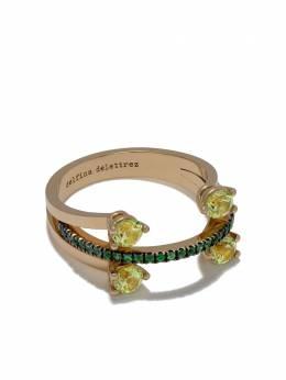 Delfina Delettrez золотое кольцо Linked Dots с хризолитом и цаворитом NTL1024A