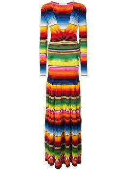 Carolina Herrera ярусное платье макси в полоску R2012N507PVS