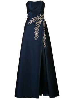 Carolina Herrera декорированное платье с глубоким вырезом S2011E705MIK