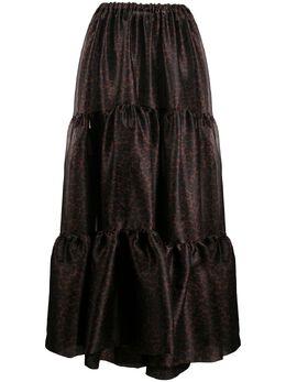 Simonetta Ravizza ярусная юбка макси с анималистичным принтом PIAG