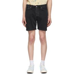 Nudie Jeans Black Denim Josh Shorts 113353