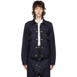 Fumito Ganryu Indigo Pleated Denim Jacket Fu3-Bl-101