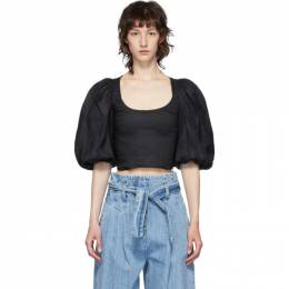 Wandering Black Cropped Sleeve Blouse WGS20202