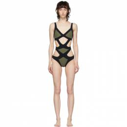 Agent Provocateur Khaki and Black Mazzy One-Piece Swimsuit 109764