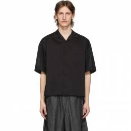 Fumito Ganryu Black Open Collar Combination Shirt Fu3-Sh-101