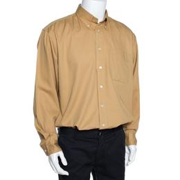Yves Saint Laurent Mustard Yellow Cotton Twill Long Sleeve Shirt XL 289879