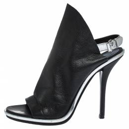 Balenciaga Black Leather Open Toe Glove Slingback Sandals Size 38.5 290507