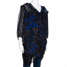 Roberto Cavalli Bicolor Leopard Printed Crepe Raw Edge Ruffled Trim Blouse L 290028