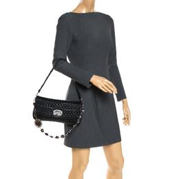 Miu Miu Black Matelasse Leather Crystal Shoulder Bag 290591
