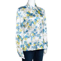 Roberto Cavalli White Floral Printed Stretch Silk Button Front Shirt L 289966