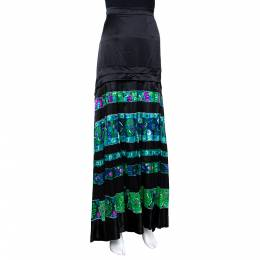 Roberto Cavalli Black & Green Striped Floral Printed Silk Flared Maxi Skirt L 290063