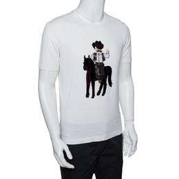 Dolce&Gabbana Cream Cotton Cowboy Patch T Shirt M 290463