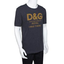 Dolce&Gabbana Grey Cotton Royal Print T Shirt M 290460