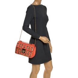 Chloe Orange Leather Medium Crystal Embellished Elsie Shoulder Bag 290743