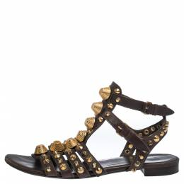 Balenciaga Brown Leather Studded Ankle Strap Flat Sandals Size 39.5 290692