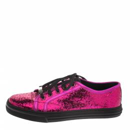 Gucci Metallic Pink Coarse Glitter And Leather Trim Low Top Sneakers Size 38 290688