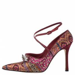 Manolo Blahnik For Neiman Marcus Pink/Blue Brocade Fabric Crystal Embellished Pointed Toe Pumps Size 37.5 290771