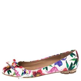 Salvatore Ferragamo White Floral Print Patent Leather Avola Bow Ballet Flats Size 37.5 290780