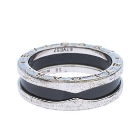 Bvlgari Save the Children Black Ceramic Silver 1-Band Ring Size 56 290636