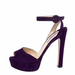 Prada Purple Suede Lexy Platform Slingback Ankle Strap Sandals Size 38.5 290408