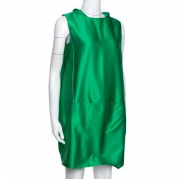 Victoria, Victoria Beckham Green Jacquard Cocoon Mini Dress S 290610