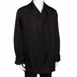Prada Dark Brown Nylon Double Breasted Coat L 290424