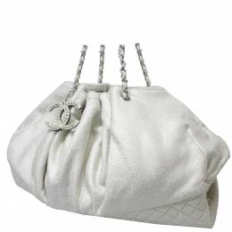Chanel White Jersey Cotton Melrose Bag 290858