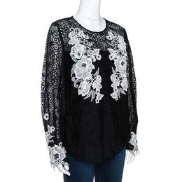 Oscar De La Renta Black & White Floral Lace Long Sleeve Blouse L 290475