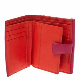 Dior Pink/Orange Leather Trifold Wallet 290723