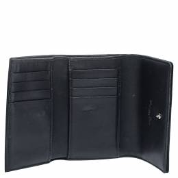Dior Black Micro Cannage Patent Leather Diorama Trifold Wallet 290729