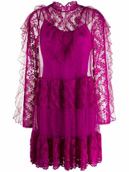 Temperley London короткое платье с оборками и кружевными вставками 20SFCE53373