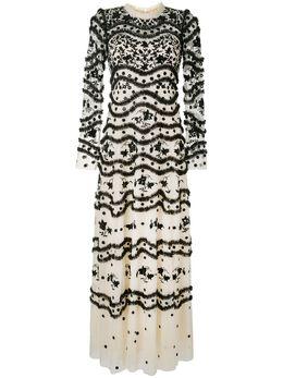 Needle & Thread вечернее платье из тюля с цветочной вышивкой DR0044PS20CGR