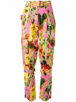 MSGM брюки с цветочным принтом и пряжкой 2842MDP109A207353