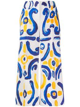 Moschino брюки широкого кроя с принтом A03240461