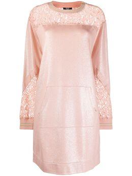 Liu Jo платье-толстовка с эффектом металлик и кружевными вставками TA0052F0809