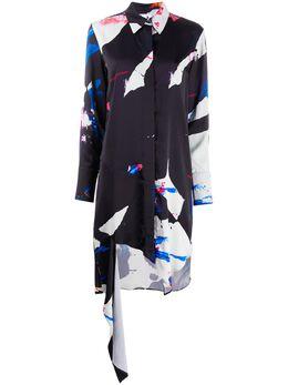 Off-White платье-рубашка асимметричного кроя с принтом OWDB235S20FAB0031008