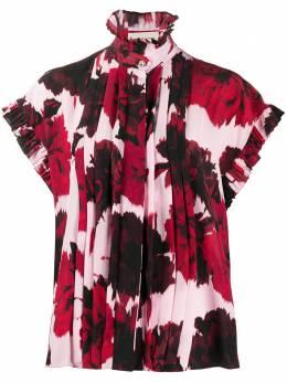 Alexandre Vauthier рубашка с оборками и цветочным принтом 201SH1204