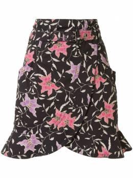 Isabel Marant юбка мини с поясом и цветочным принтом JU115820E047I