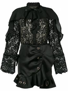 Self-Portrait кружевное платье мини с люверсами SP19006BLACEEYELET