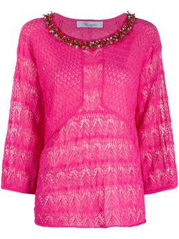 Blumarine декорированная трикотажная блузка 20851