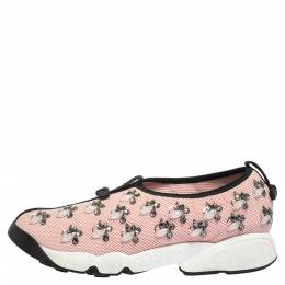 Dior Pink Mesh Fusion Embellished Sneakers Size 39 290896