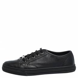 Gucci Black Leather Low Top Lace Up Sneakers Size 38 290894