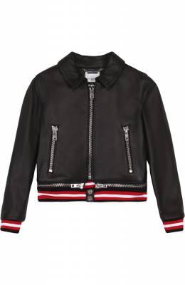 Кожаная куртка с декоративной молнией и эластичными манжетами Givenchy H16000