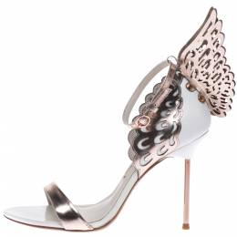 Sophia Webster Metallic Bronze And White Leather Evangeline Wing Ankle Strap Sandals Size 38.5 291102