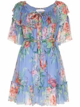 Zimmermann платье мини Prima с цветочным принтом 3327DBTD