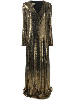 Gucci длинное платье с эффектом металлик 623452XJCKT