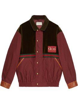 Gucci куртка с бархатной вставкой и узором GG 614482Z8AJJ