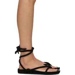 Isabel Marant Black Lastro Flat Sandals SD0609-20E017S