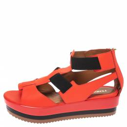 Fendi Red/Black Leather And Elastic Platform Wedge Sandals Size 37.5 290921